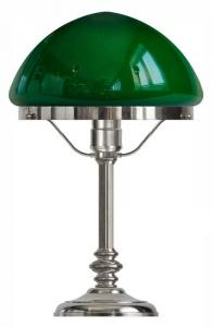 Table lamp - Karlfeldt nickel, pointed green shade