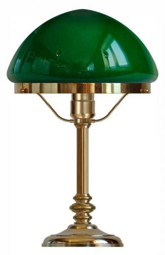 Table lamp - Karlfeldt brass, pointed green shade