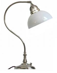 Bordlampe - Lagerlöf nikkel med opalhvit glasskjerm