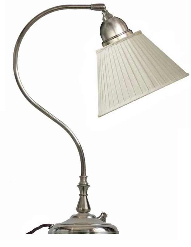 Table lamp - Lagerlöf nickel-treated with beige pleated shade