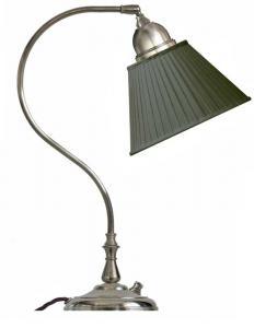 Bordlampe - Lagerlöf nikkel med grønn tekstilskjerm