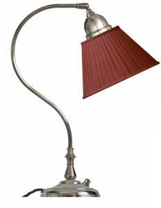 Bordlampe - Lagerlöf nikkel med rød tekstilskjerm