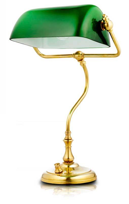Bankers lamp brass with a green shade Classic style Sekelskifte
