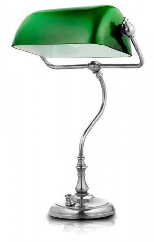 Bankers Lamp - Nickel, green shade