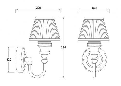 Badrumslampa Burlington - Vägglampa med vit tygskärm