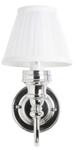 Burlington Bathroom Light - Chrome base and pleated shade - oldschool style - old fashioned