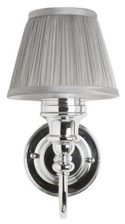 Baderomslampe Burlington - Vegglampe med grå stoffskjerm - arvestykke - gammeldags dekor - klassisk stil - retro