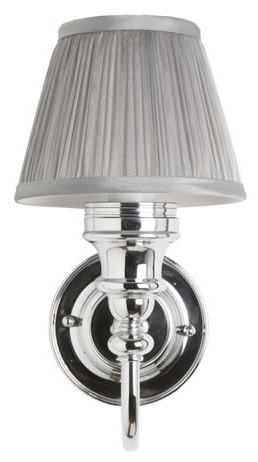 Burlington Bathroom Light - Chrome base and silver pleated shade - old fashioned style - old style