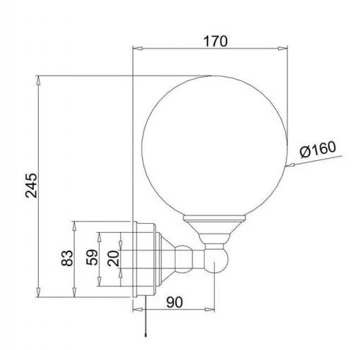 Badrumslampa - Burlington vägglampa med klotskärm