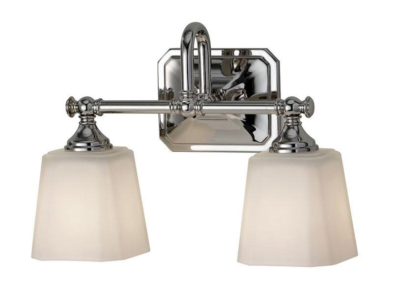 Baderomslampe - Vegglampe Addislade toarmet krom/frostet hvit glass