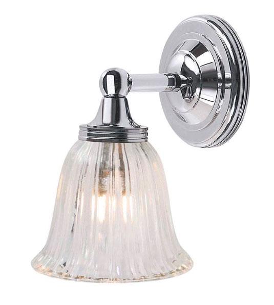 Baderomslampe - Vegglampe Truro krom/glass - arvestykke - gammeldags dekor - klassisk stil - retro