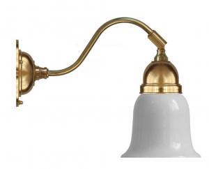 Vägglampa - Runeberg mässing opalvit klocka