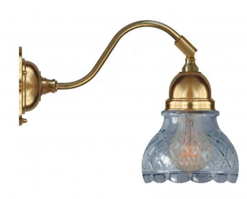 Vägglampa - Runeberg mässing slipat klarglas