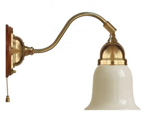 Wall lamp - Runeberg brass off white bell shade