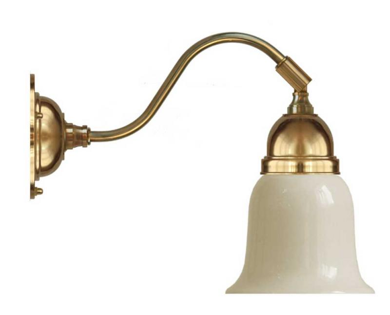 Vägglampa - Runeberg mässing gulvit klocka