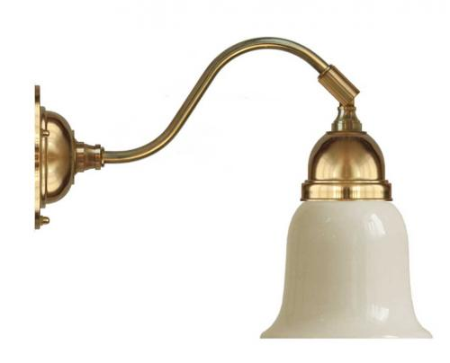 Wall lamp - Runeberg brass off white bell shade
