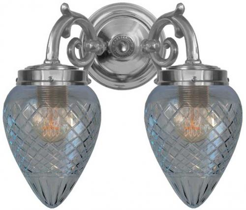Bathroom wall lamp - Tegengren nickel clearglass