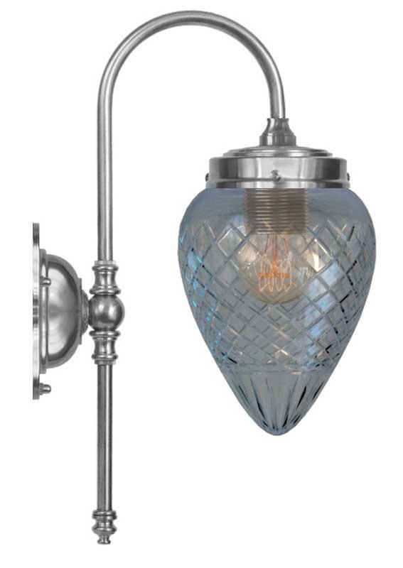 Vegglampe - Blomberg 80 nikkel dråpe kuppel - arvestykke - gammeldags dekor - klassisk stil - retro