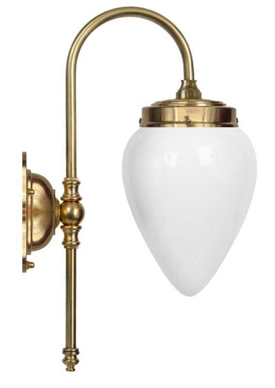 Vegglampe - Blomberg 80 opalhvitt dråpe - arvestykke - gammeldags dekor - klassisk stil - retro