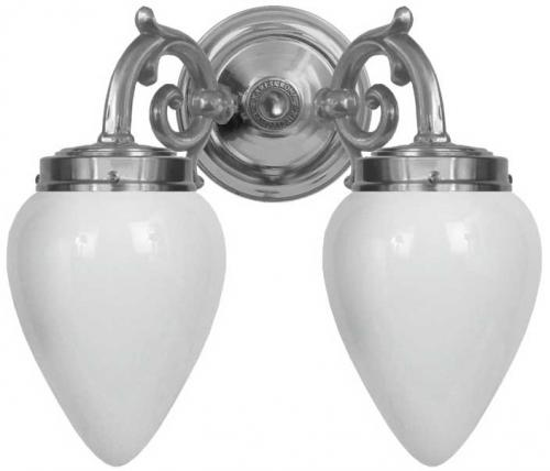 Bathroom wall lamp - Tegengren nickel opal white