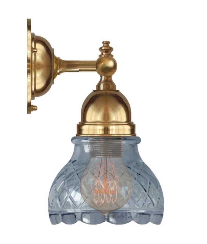 Vegglampe - Adelborg messing, slipt klarglass - arvestykke - gammeldags dekor - klassisk stil - retro