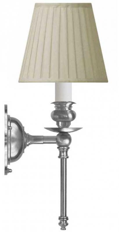 Vegglampe - Ribbing nikkel, beige skjerm