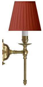Wall lamp - Ribbing brass, red shade