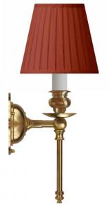 Wall lamp - Ribbing brass, red shade