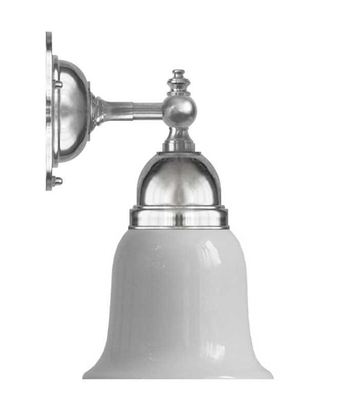 Vegglampe - Adelborg nikkel, hvit klokke - arvestykke - gammeldags dekor - klassisk stil - retro