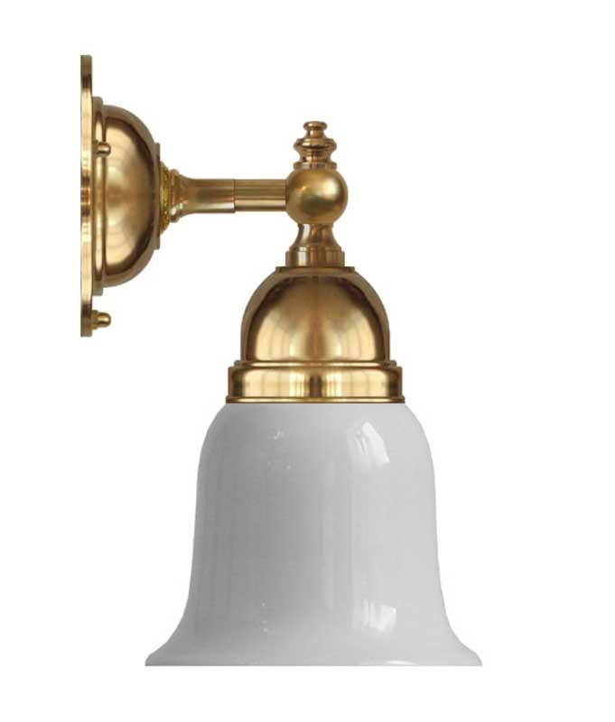 Vegglampe - Adelborg messing, opalhvit klokke - arvestykke - gammeldags dekor - klassisk stil - retro