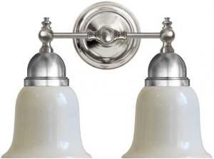 Bathroom Wall Lamp - Bergman nickel-plated brass, opal white bell