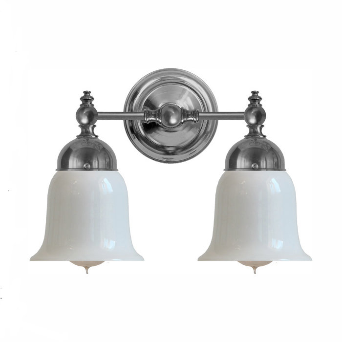 Bathroom Wall Lamp - Bergman nickel-plated brass, opal white bell