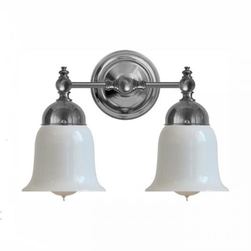 Bathroom Wall Lamp - Bergman nickel-plated brass opal white bell - classic style - old fashioned