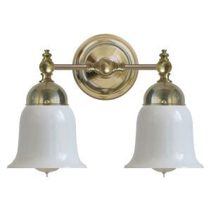 Bathroom Wall Lamp - Bergman brass, opal white bell