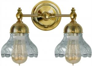 Bathroom Wall Lamp - Bergman with clear cut glass