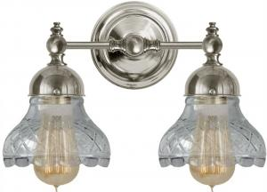 Bathroom Wall Lamp - Bergman nickel with clear cut glass