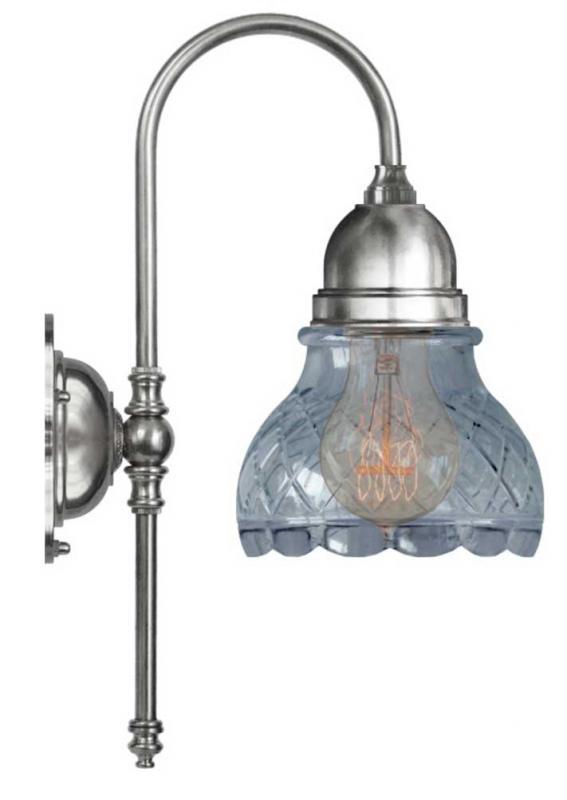 Vegglampe - Ahlström nikkel, slipt klarglass - arvestykke - gammeldags dekor - klassisk stil - retro