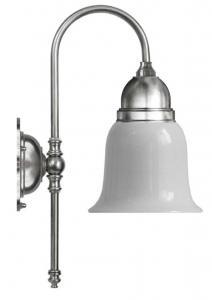Vegglampe - Ahlström nikkel, opal hvit klokke - arvestykke - gammeldags dekor - klassisk stil - retro