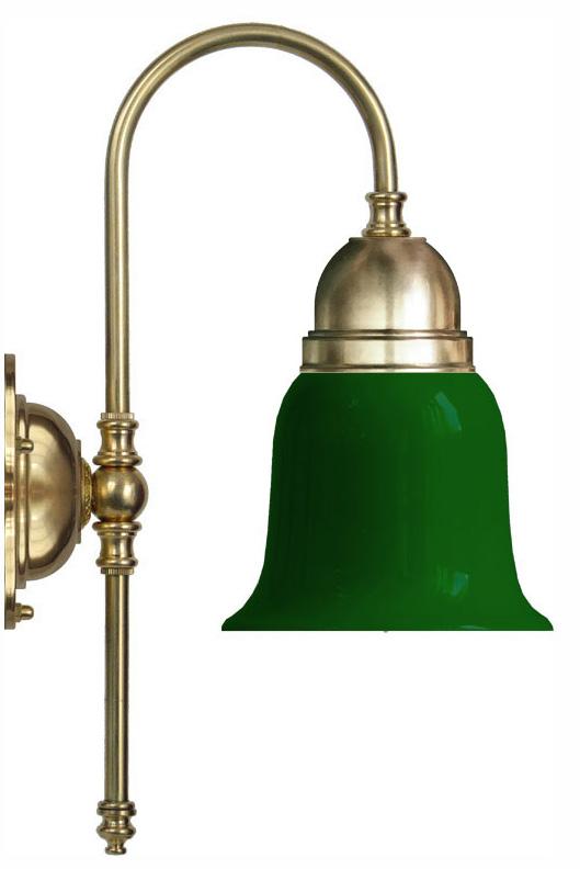 Wall lamp - Ahlström brass with green bell shade