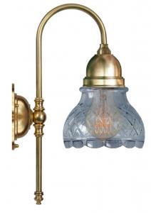 Vegglampe - Ahlström messing, slipt klarglass - arvestykke - gammeldags dekor - klassisk stil - retro