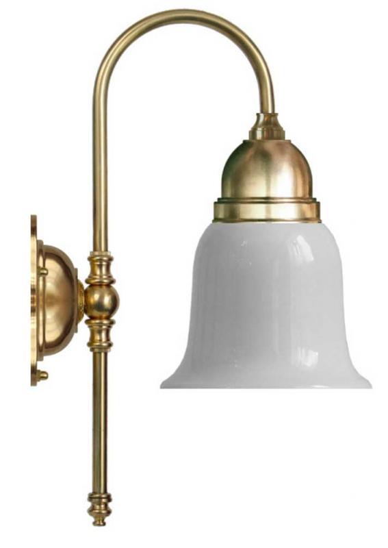 Vegglampe - Ahlström messing, opal hvit klokke - arvestykke - gammeldags dekor - klassisk stil - retro
