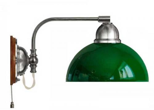 Wall lamp - Gripenberg 60 nickel opal green clock shade