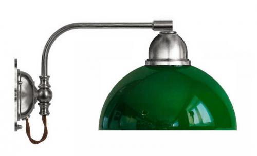 Vägglampa - Gripenberg förnicklad grön halvsfär