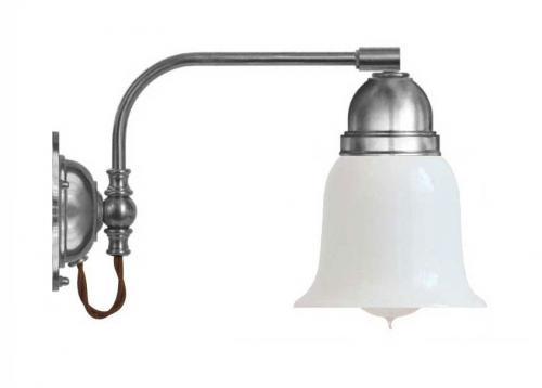 Vägglampa - Gripenberg förnicklad opalvit klocka