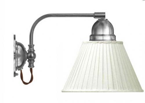 Vägglampa - Gripenberg förnicklad vit tygskärm