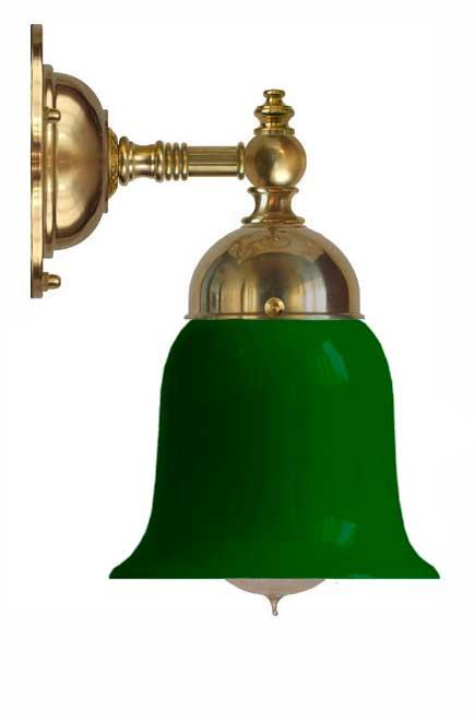 Baderomslampe - Adelborg messing, grønn klokke