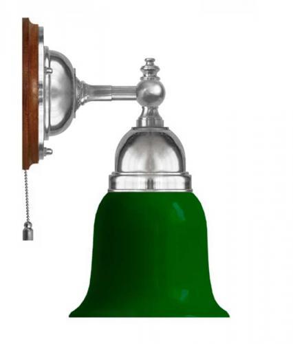 Wall lamp - Adelborg nickel, green bell