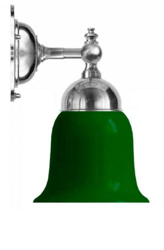 Bathroom Wall Lamp - Adelborg nickel-plated brass, green bell