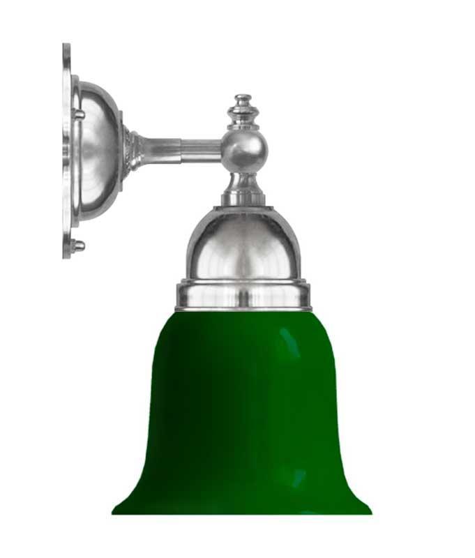 Vegglampe - Adelborg nikkel, grønn klokke - arvestykke - gammeldags dekor - klassisk stil - retro