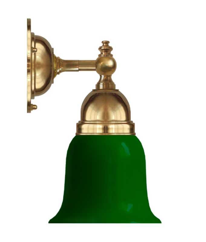 Vegglampe - Adelborg messing, grønn klokke - arvestykke - gammeldags dekor - klassisk stil - retro